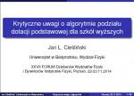 Krytyczne uwagi o algorytmie podziału dotacji podstawowej/Poznań