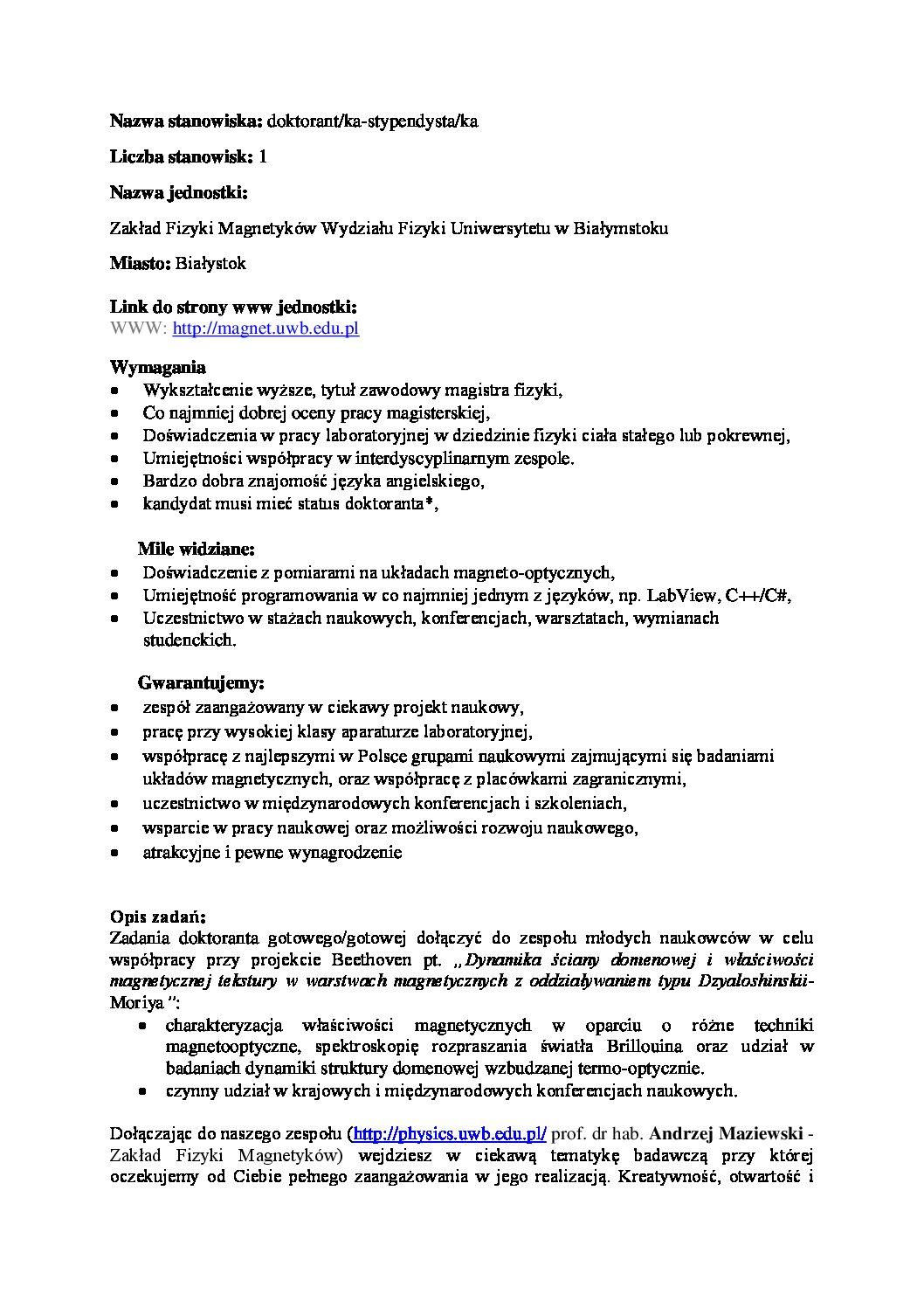 Oferta pracy dla doktoranta NCN   2018/04/03